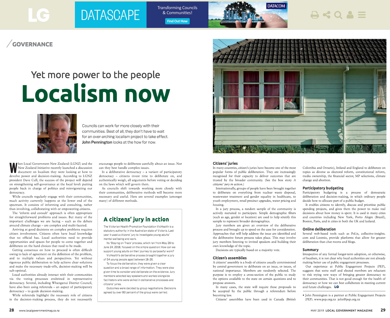 Yet more power to the people: Localism now, The NZ Local Government Magazine, Vol. 56, May 2019